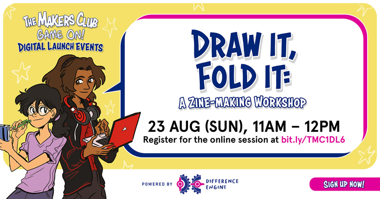 the makers club game on digital launch - draw it fold it a zine making workshop
